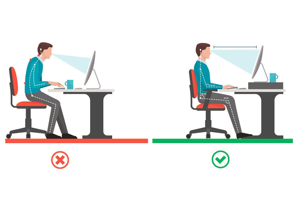 como sentarse frente al ordenador
